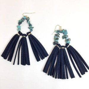 NWOT Handmade Navy Leather Tassels Earrings